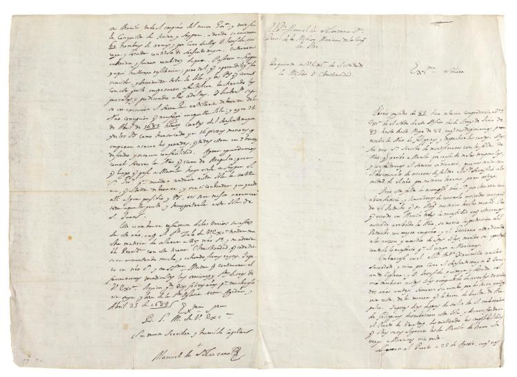 SOLÓRZANO. AUTOGRAPH LETTER SIGNED, TO THE DUCHESS OF AVEIRO, MARIANA ISLANDS, 25 APRIL 1684