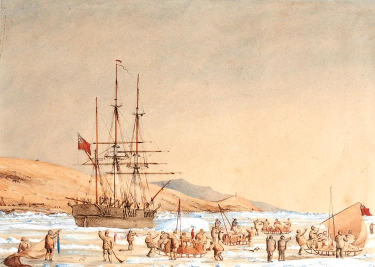FRANKLIN SEARCH PARTY. WATERCOLOUR. [MID-NINETEENTH-CENTURY]