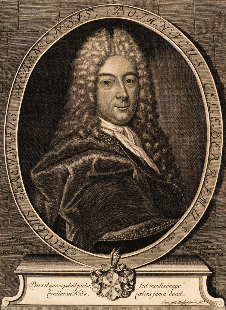 BREYNE, PRODROMI FASCICULI RARIORUM PLANTARUM, DANZIG, 1739, 2 PARTS IN ONE, PLATES, MODERN HALF CALF