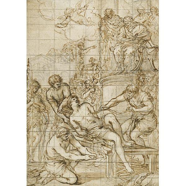 Pietro Berrettini, called Pietro da Cortona , Cortona 1596 (?) - 1669 Rome the martyrdom of st lawrence Pen and brown ink and wash over black chalk, squared for transfer in black chalk; bears old attribution in pen and brown ink, verso : Pietro da