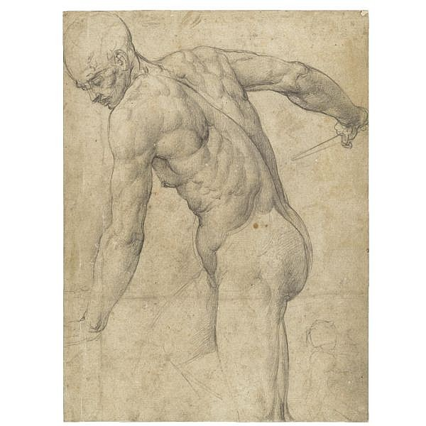Giovanni Battista Franco, called il Semolei , Venice 1510 - 1561 a male nude holding a dagger, with a subsidiary sketch of a woman and child at the right corner Black chalk, with touches of brown ink; bears old attribution in pen and ink on the old