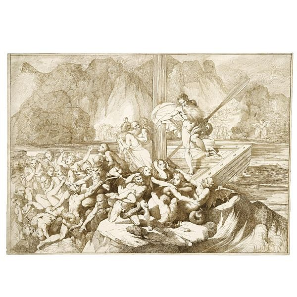Luigi Sabatelli , Florence 1772 - 1850 Milan dante and virgil watching charon ferrying souls to hell Pen and brown ink over traces of black chalk