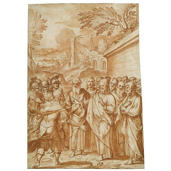 Bernardo Castello , Genoa 1557 - 1629 christ heals the centurion's servant Red chalk and red chalk wash over black chalk; inscribed in brown ink on old backing sheet : Benvenuto da Garofalo ; roma n:4