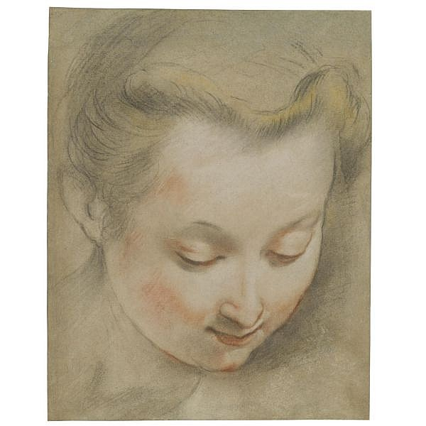 Federico Barocci , Urbino circa 1535 - 1612 study of the head of a young woman looking down to the right Black chalk heightened with yellow and red chalk