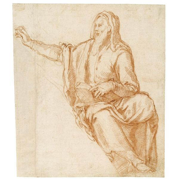 Agostino Ciampelli , Florence 1565 - 1630 Rome design for a lunette: a prophet Red chalk, a light red chalk sketch of a figure on the verso
