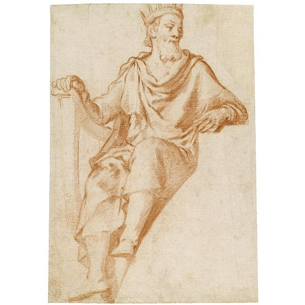 Agostino Ciampelli , Florence 1565 - 1630 Rome design for a lunette: king david Red chalk; a light red chalk sketch of a figure on the verso