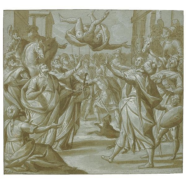 Giovanni Mauro della Rovere, called Il Fiammenghino , Milan 1575 - 1640 the fall of simon magus Pen and brown ink and wash, heightened with white, over traces of black chalk, on blue paper; bears initials and date in pen and brown ink: G.M.R. 1619