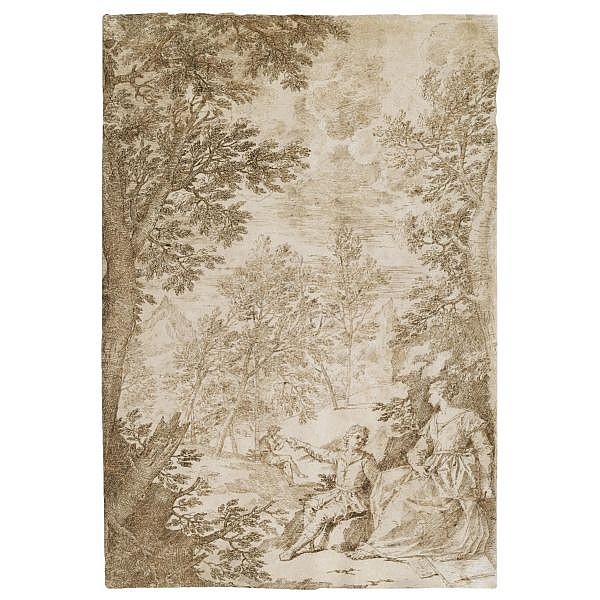 Donato Creti , Cremona 1671 - 1749 Bologna a woman and a small boy seated in a wooded landscape with a piper in the background Pen and brown ink