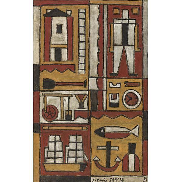 Joaquín Torres-García (1874-1949) , Constructif avec Rythme Dentelé