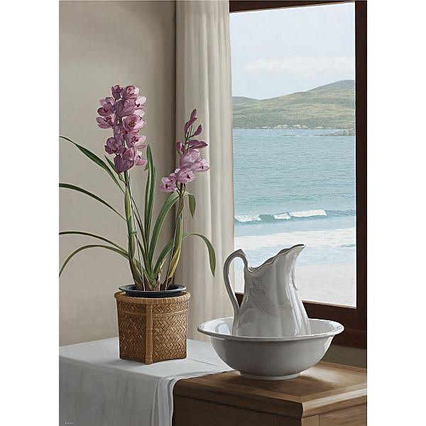 Renato Meziat (b. 1952) , Pink Orchid and Landscape
