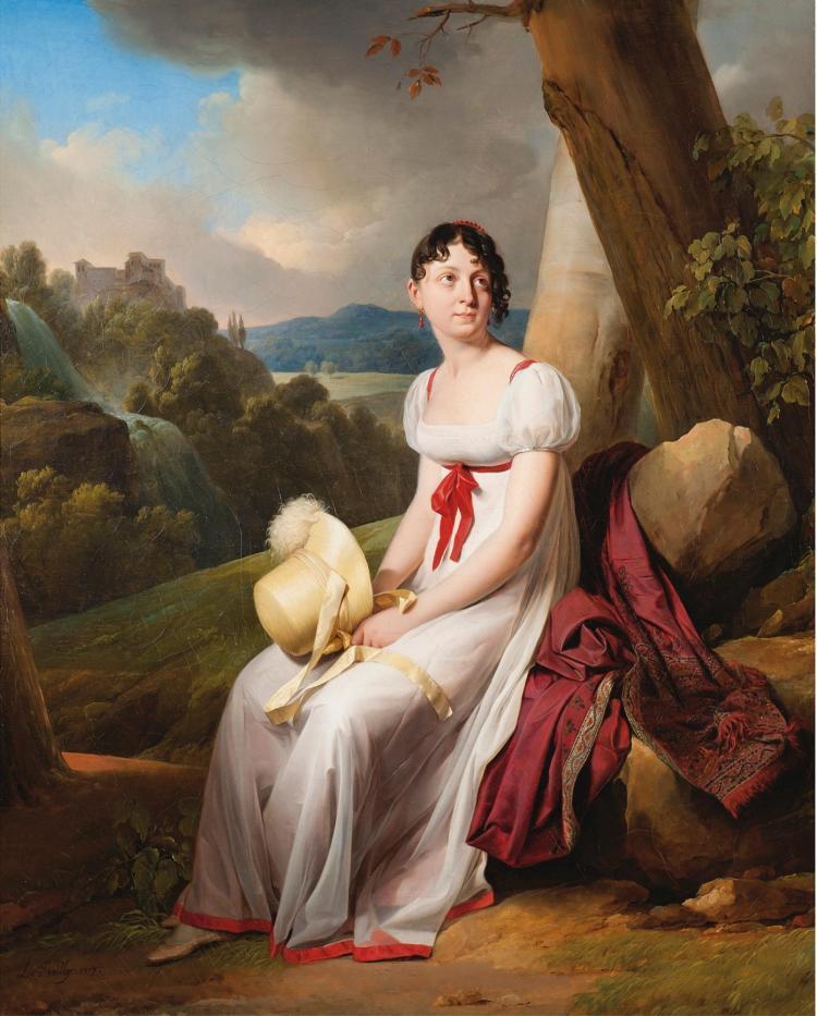 LOUIS BOILLY | Portrait de Madame Saint-Ange Chevrier dans un paysage