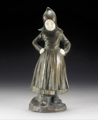 A BRONZE AND IVORY FIGURE OF A YOUNG GIRL BY J. D'ASTE, CIRCA 1930