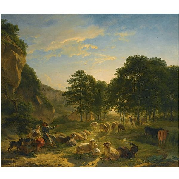 Balthasar Paul Ommeganck Belgian, 1755-1826 , Shepherds and their flock resting in a landscape oil on panel
