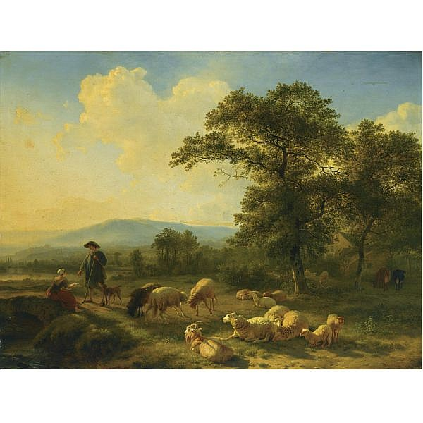 Balthasar Paul Ommeganck Belgian, 1755-1826 , Shepherds with their herd in a forest landscape oil on panel