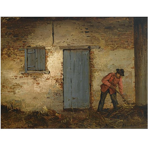Henri de Braekeleer Belgian, 1840-1888 , A peasant at work in front of a farmhouse oil on canvas