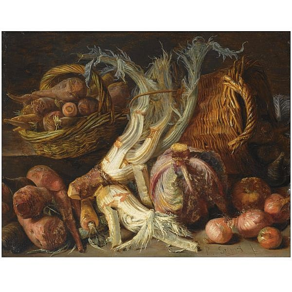 , A still life with onions, cabbages, carrots and other vegetables in two reed baskets, all on a floor oil on copper