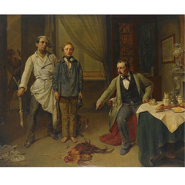 Pieter van Hanselaere Belgian, 1786-1862 , 'the young poacher' oil on canvas