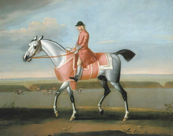 JAMES SEYMOUR (1702-1752) ASHRIDGE BULL ON NEWMARKET HEATH WITH JOCKEY UP
