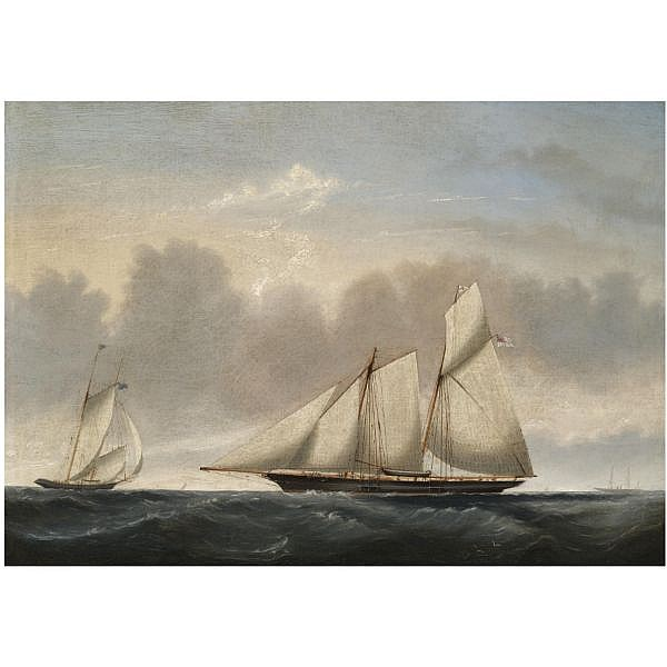 Reuben Chappell , 1870-1940 A Naval Schooner in two Positions oil on canvas