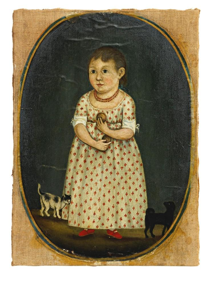 ATTRIBUTED TO RUFUS HATHAWAY (1770 - 1822) | PORTRAIT OF A LITTLE GIRL WITH KITTEN AND DOG