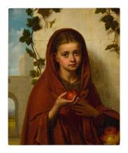 GEORGE HENRY HALL | Girl holding apple