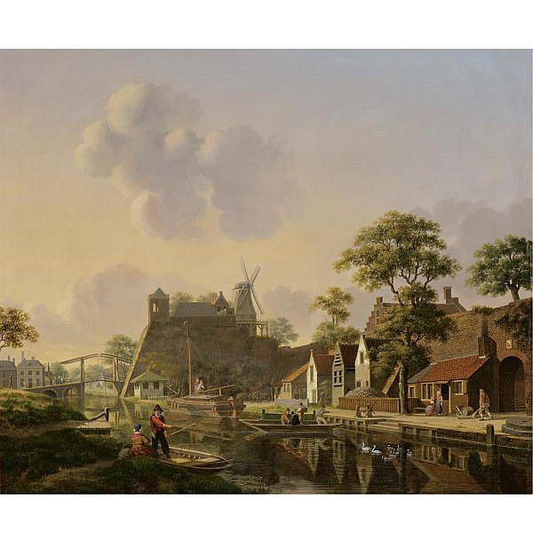 Jan Hendrik Verheijen , Dutch 1778-1846 a town at a canal oil on panel