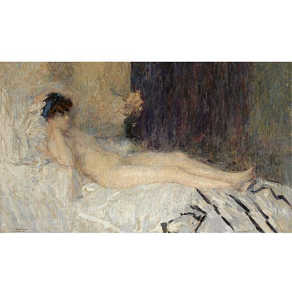 Ernest Jean Joseph Godfrinon , Belgian 1878-1927   'lassitude' oil on canvas