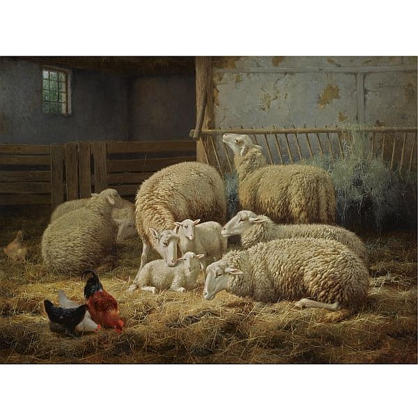 Théo van Sluys , Belgian 1849-1931 sheep and chickens in a barn oil on canvas