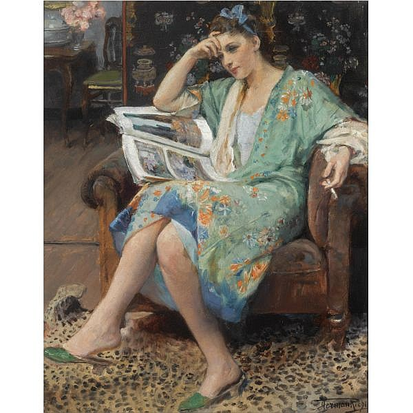 Herman-Jean-Joseph Richir , Belgian 1866-1942 an interesting read oil on canvas