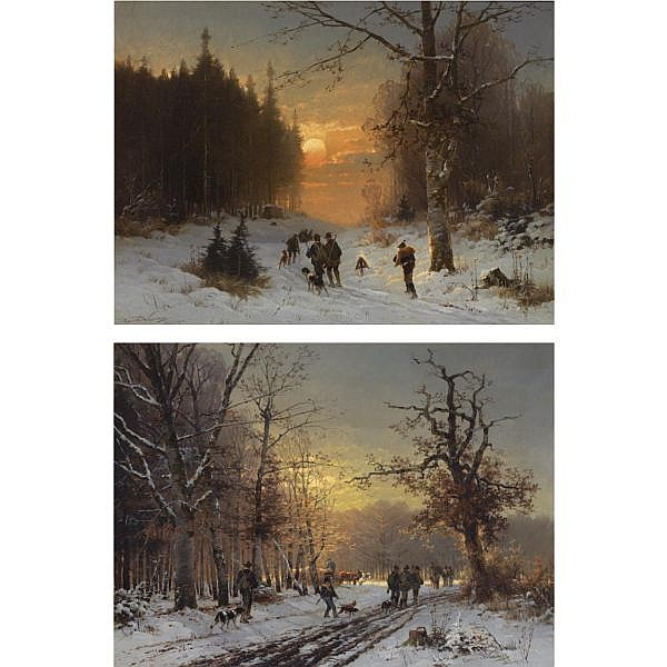 Conrad Wimmer , German 1844-1905 hunters in the snow; hunters on a wintry day (a pair)   both oil on canvas