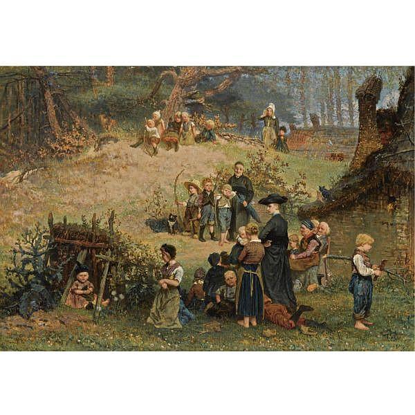 August Allebé , Dutch 1838-1927 'het kleine sint-jorisgilde te dongen' (the Saint Joris guild in Dongen) oil on panel