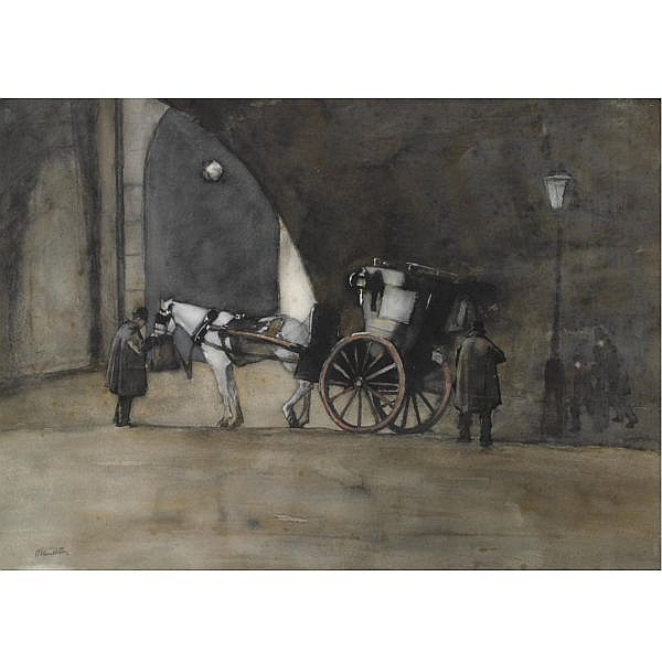 Willem Witsen , Dutch 1860-1923   A carriage at Waterloo Bridge, London   watercolour and pencil