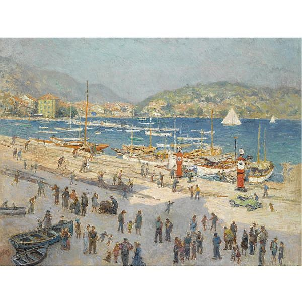 Hendrik Jan Wolter , Dutch 1873-1952 a view of a busy mediteranean harbour oil on canvas