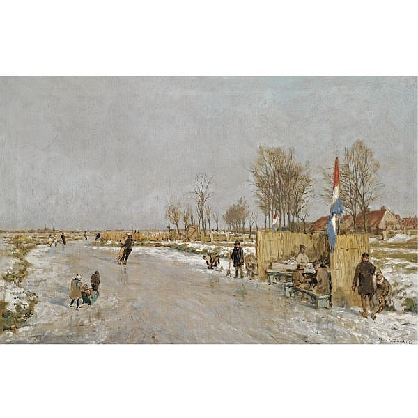 Johan Hendrik van Mastenbroek , Dutch 1875-1945 'ijsvreugde op holland's vaarten' (winter fun on a Dutch canal) oil on canvas