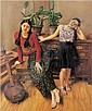 Yang Feiyun , B. 1954 Sisters   oil on canvas     , Feiyun Yang , Click for value