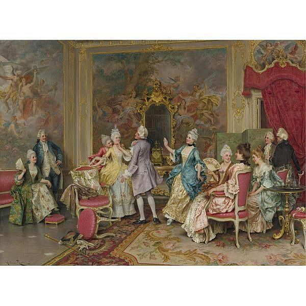 Arturo Ricci , Italian 1854-1919 A Game of Tag oil on canvas