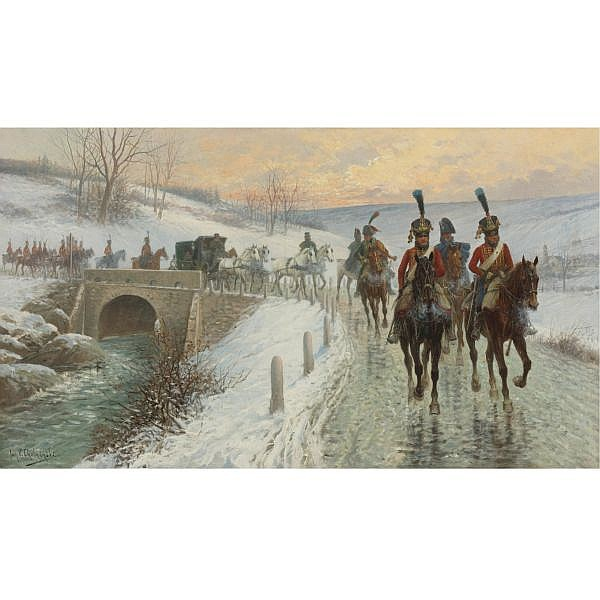 Jan Van Chelminski , Polish 1851-1925 Napoleon's Entry into Berlin   oil on canvas