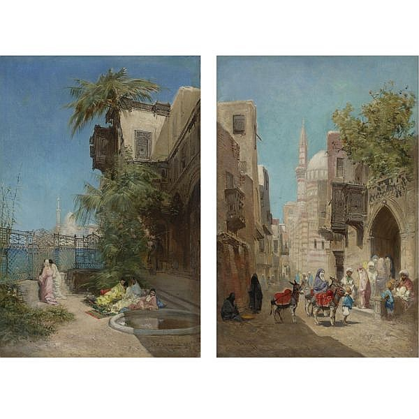 Godefroy de Hagemann , French 1820-1877   The Harem and Outside the Mosque: Two Works oil on canvas