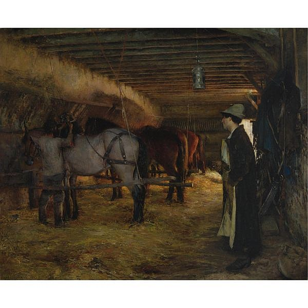 Pascal-Adolphe Dagnan-Bouveret , French 1852-1929 A Stable oil on canvas