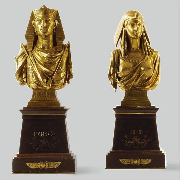 Pierre-Eugène-Émile Hébert , French 1828-1893 Ramses and Isis gilt-bronze and variegated marble