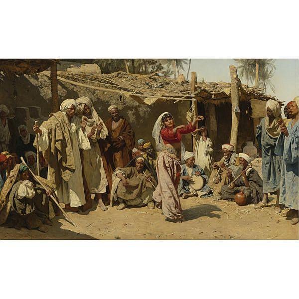 - Leopold Carl Müller , German 1834-1892   An Almée's Admirers (Egyptische Tänzerin) oil on canvas