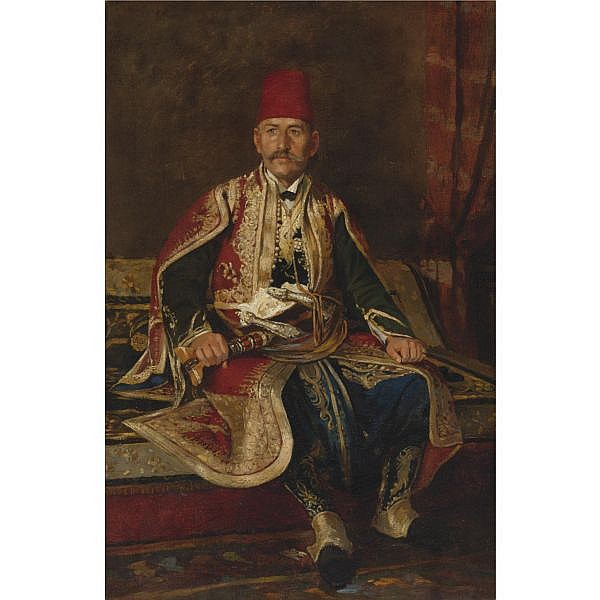 Franz Ruben , Austrian 1842-1920 Turkish noble seated in a carpeted interior oil on canvas