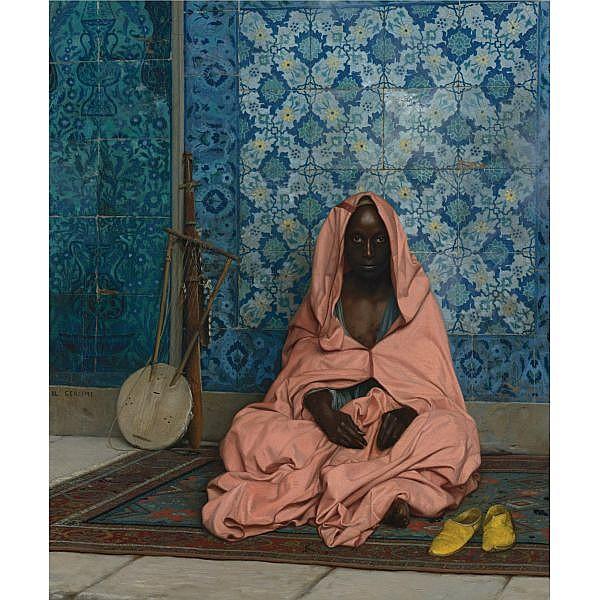 Jean-Léon Gérôme , French 1824-1904 Le Barde Noir oil on canvas