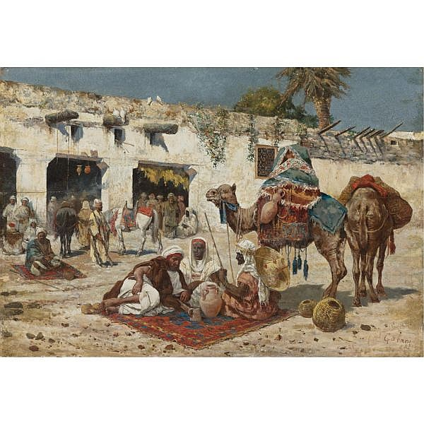 Giuseppe Gabani , Italian 1846-1899 Caravan at rest oil on panel
