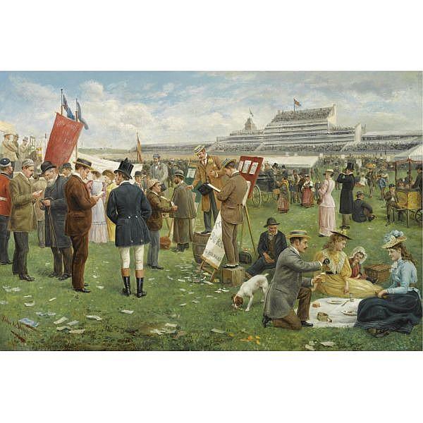 Pedro Vega y Munoz , Spanish 1840-1868 Derby Day, Epsom oil on canvas