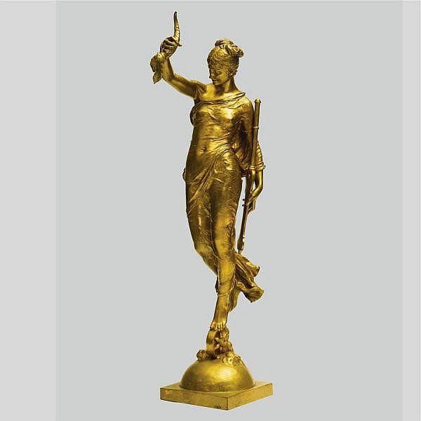 Augustin-Jean Moreau-Vauthier , French 1831 -1893 Fortuna gilt-bronze