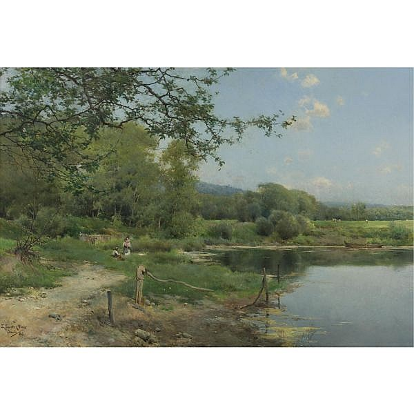 Emilio Sánchez-Perrier , Spanish 1855-1907 A Picnic on the Riverbank oil on panel
