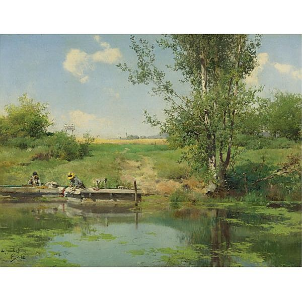Emilio Sánchez-Perrier , Spanish 1855-1907 Laundry at the Edge of the River   oil on panel
