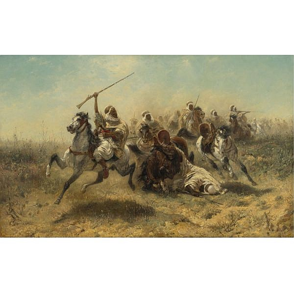 Adolf Schreyer , German 1828-1899 The Charge oil on canvas