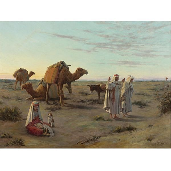 Jacques Alsina , French 19th/20th Century Praying in the Desert oil on canvas